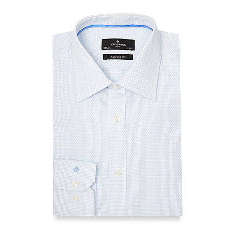 JEFF BANKSBig and tall designer pale blue textured grid dot tailored fit shirt - WAS £38.00