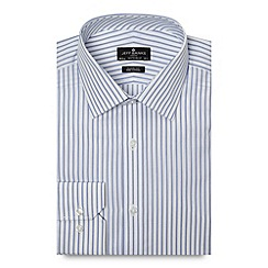 Jeff Banks - Designer white striped regular fit poplin shirt