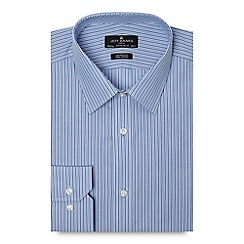 Jeff Banks - Designer blue double striped tailored fit poplin shirt