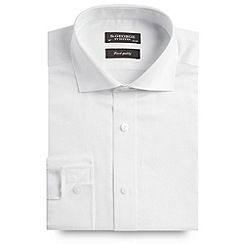 St George by Duffer - White plain sateen long sleeved shirt