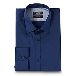 St George by Duffer - Navy twill slim fit shirt