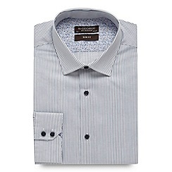 St George by Duffer - Big and tall white twill striped slim fit shirt