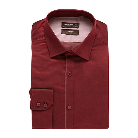 St George by Duffer - Wine trimmed twill slim fit shirt