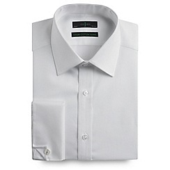 J by Jasper Conran - Big and tall white tailored fit tailored fit subtle stripe long sleeve shirt