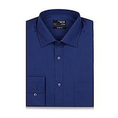 Thomas Nash - Dark blue plain regular fit shirt
