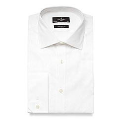 Jeff Banks - Big and tall designer white plain poplin extra long sleeve and body shirt