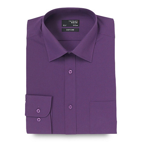 Thomas Nash - Big and tall purple easy care plain shirt