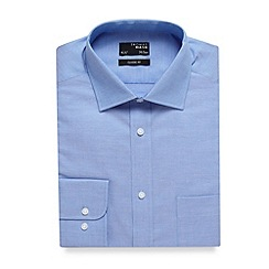 Thomas Nash - Big and tall blue plain regular fit oxford shirt