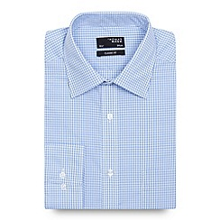 Thomas Nash - Big and tall blue gingham checked regular fit shirt