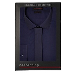 Red Herring - Big and tall dark blue slim fit shirt and tie