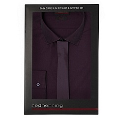 Red Herring - Dark purple slim fit shirt and tie set