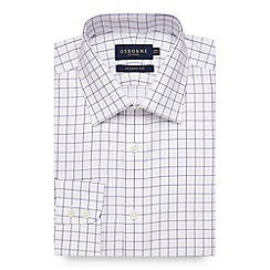 Osborne - Purple windowpane checked regular fit shirt