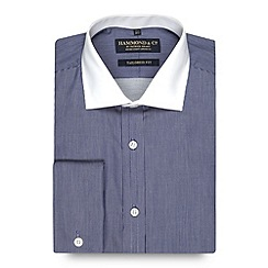 Hammond & Co. by Patrick Grant - Big and tall designer navy fine striped tailored fit shirt