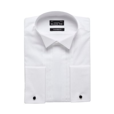 Black Tie Big and tall white three pleat wing collar tailored shirt - . -