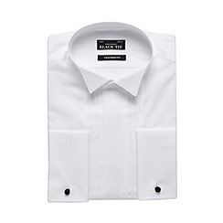 Black Tie - White three pleat wing collar tailored shirt