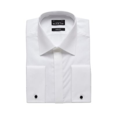 Black Tie Big and tall designer white textured collar sim fit shirt - . -