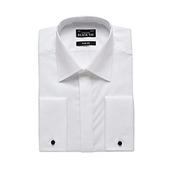 Black Tie - Big and tall designer white textured collar slim fit shirt