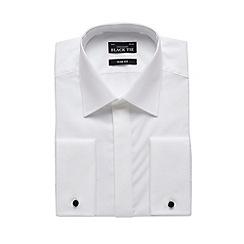 Black Tie - Big and tall designer white textured collar slim fit shirt