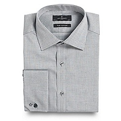 Jeff Banks - Big and tall white fine herringbone long sleeve shirt