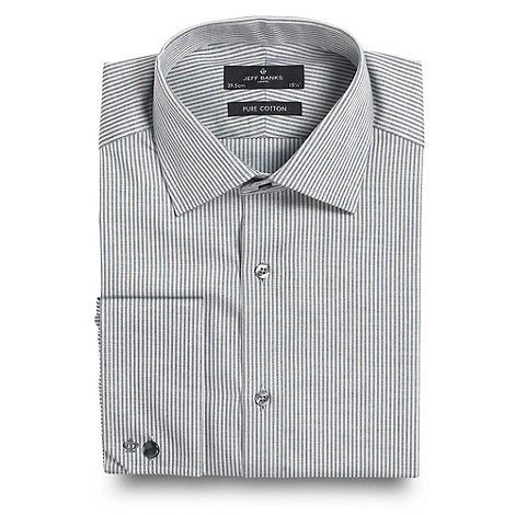 Jeff Banks - Big and tall white fine herringbone long sleeve shirt