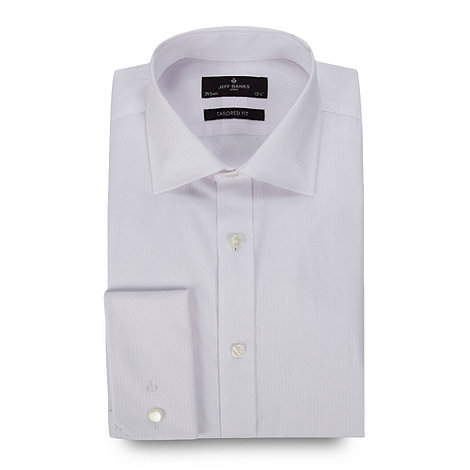 Jeff Banks - Big and tall white regular fit fine herringbone shirt