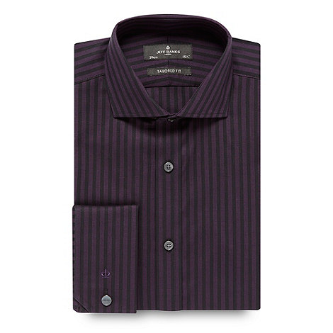 JEFF BANKS Designer dark purple striped tailored shirt - WAS £38.00