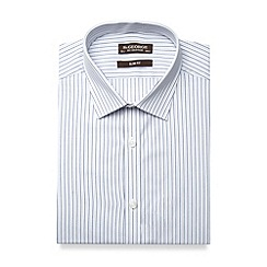 St George by Duffer - Big and tall white fine striped slim fit shirt