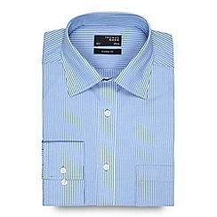 Thomas Nash - Blue striped extra long regular fit shirt