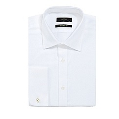 J by Jasper Conran - White tailored twill shirt with extra-long sleeves and body
