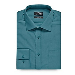 Thomas Nash - Big and tall green plain regular fit shirt