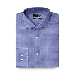 Thomas Nash - Big and tall blue grid checked regular fit shirt