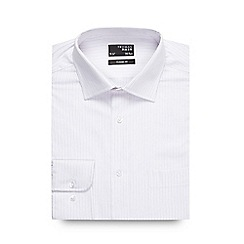 Thomas Nash - Big and tall white long sleeved broken stripe shirt