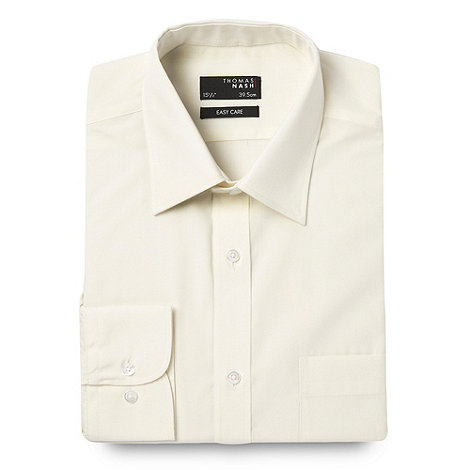 Thomas Nash - Big and tall cream ultimate plain shirt