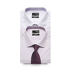 Thomas Nash - Big and tall pack of two lilac striped long sleeved shirts