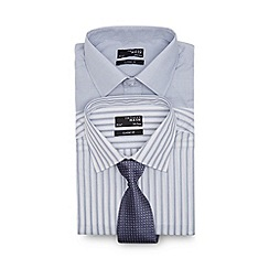 Thomas Nash - Big and tall pack of two pale grey striped long sleeved shirt