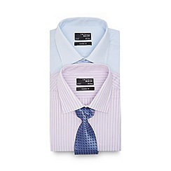 Thomas Nash - Big and tall pack of two pink striped long sleeved shirt