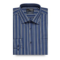 Thomas Nash - Big and tall dark blue tonal twill striped shirt