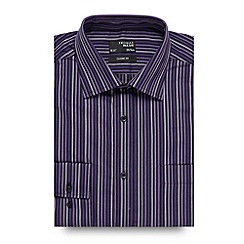Thomas Nash - Big and tall dark purple tonal twill striped shirt