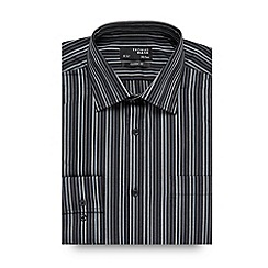 Thomas Nash - Big and tall grey tonal twill striped shirt