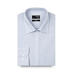 Thomas Nash - Big and tall light grey fine striped regular fit shirt