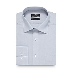 Thomas Nash - Big and tall grey fine textured regular fit shirt