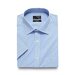 Thomas Nash - Light blue mini gingham checked regular shirt