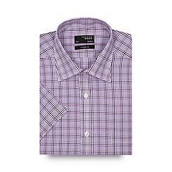 Thomas Nash - Dark purple tonal checked regular shirt