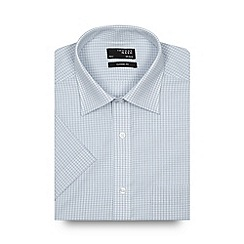 Thomas Nash - Pale blue mini checked regular shirt