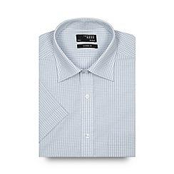 Thomas Nash - Pale blue mini checked regular shirt