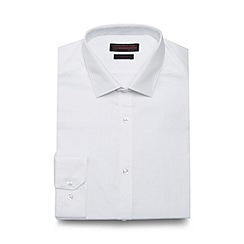 Red Herring - Big and tall white textured easy care slim fit shirt
