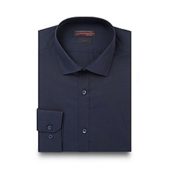 Red Herring - Navy poplin cotton blend slim fit shirt