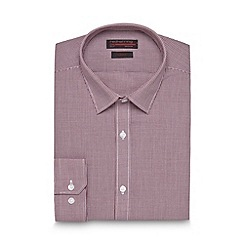 Red Herring - Big and tall maroon mini gingham slim fit shirt