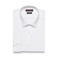 Red Herring - Big and tall white multi spotted slim fit shirt