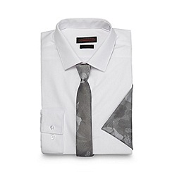 Red Herring - White slim fit shirt with rose print tie and pocket square